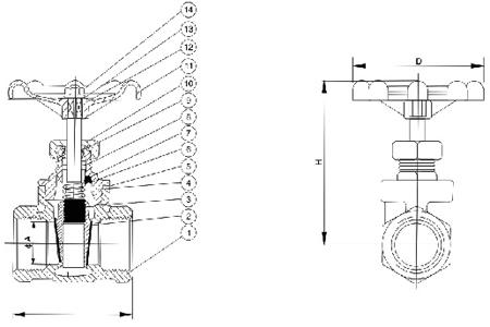 z15x丝口软密封闸阀结构图