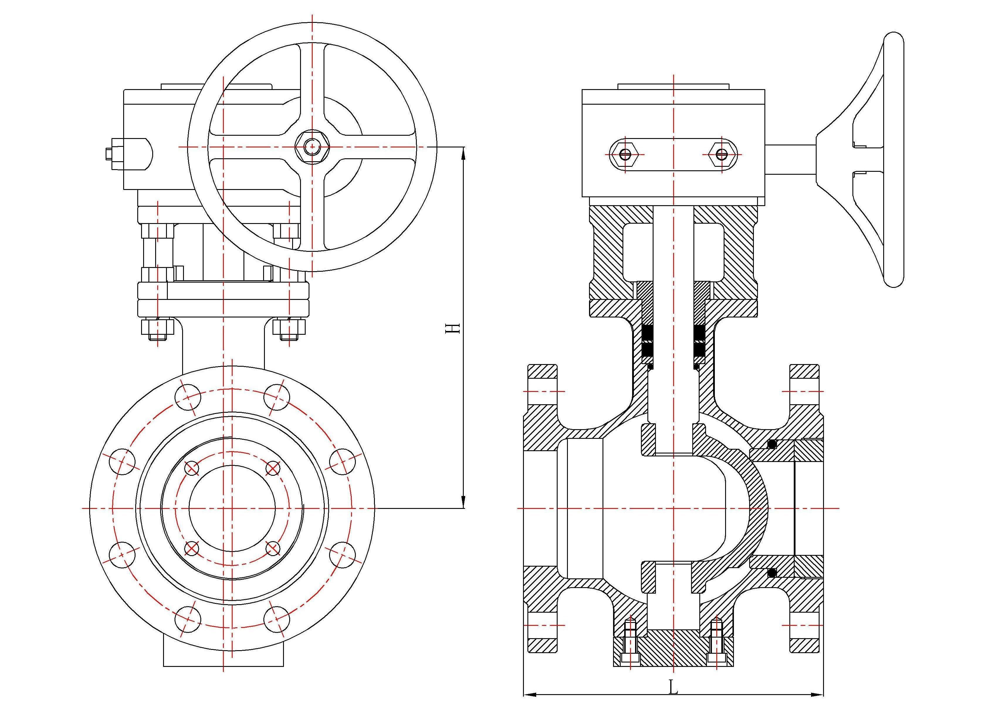 球墨铸铁手动偏心半球阀图片
